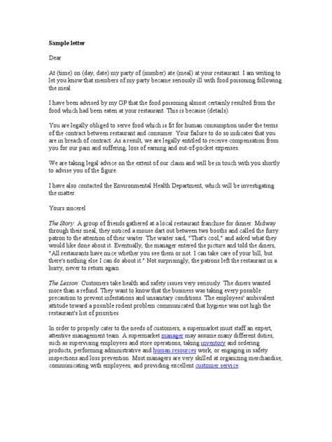 Complaint Letter Sample | Supermarket | Human Resource