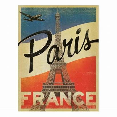 Paris France Flag Posters Postcard French Travel