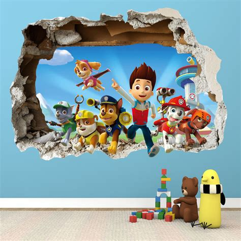 childrens wall decals paw patrol smashed wall sticker 3d bedroom boys