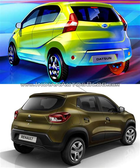 datsun renault datsun redi go vs renault kwid rear three quarter comparo