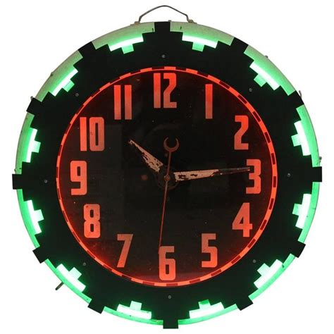 lighted clocks for sale art deco american aztec neon clock for sale at 1stdibs