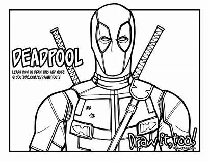 Deadpool Coloring Draw Drawing Pages Too Drawittoo