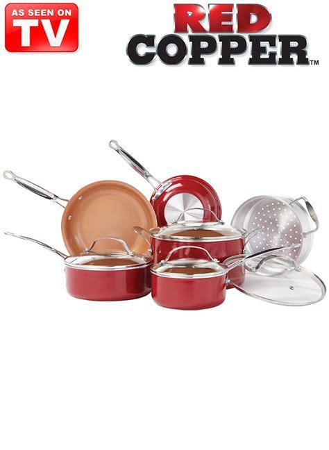 pc red copper pan set amerimark