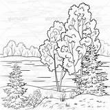 Landscape Coloring Pages River Outline Graphicriver sketch template
