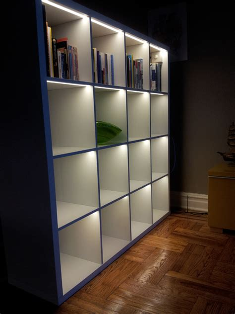 ikea bookshelf light light up the kallax ikea hackers ikea hackers