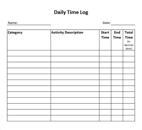 time log templates   word