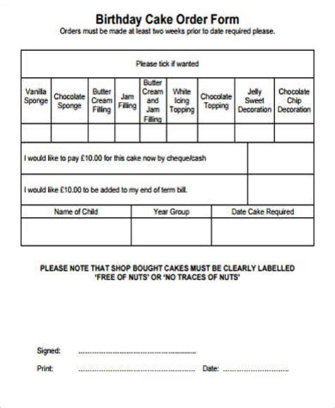 cake order form sample  examples  word