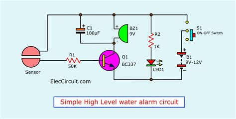 Simple High Water Level Alarm Circuit Eleccircuit