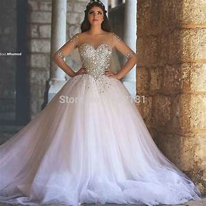 Sheer Neckline Luxuriant Crystals Beaded Ball Gown Wedding