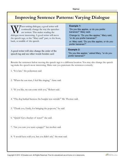 sentences worksheets and dialogue writing on