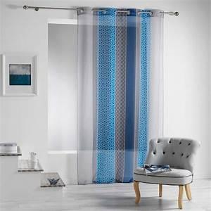 Voilage Bleu Turquoise : voilage 140 x 240 cm galliance bleu voilage eminza ~ Teatrodelosmanantiales.com Idées de Décoration