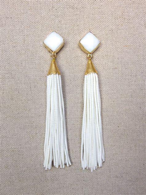Best 25  White earrings ideas on Pinterest   White tassel earrings, Black and white earrings and