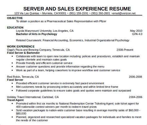 resume food service objective