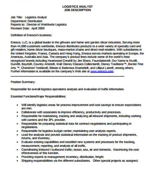 logistics job description sample  examples  word