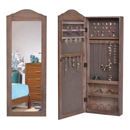 The Door Mirrored Hanging Armoire by Gymax Mirrored Jewelry Cabinet Armoire Storage Organizer