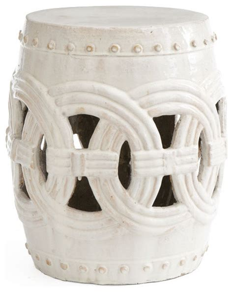 white garden stool interlocking rings stool white traditional accent and