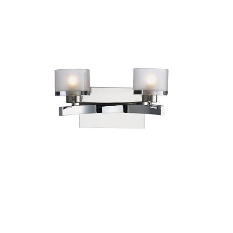 modern wall light with chrome finish and frosted glass shades