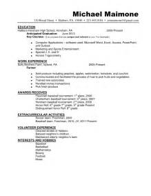 resume template for high student for college resume sle hannah hatboro 0411