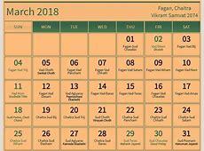 March 2018 hindu calendar with tithi for Fagun Chaitra