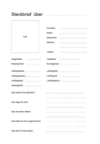 steckbrief vorlage im word format kostenloser