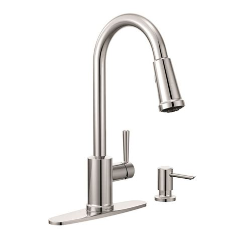 moen kitchen faucets canada moen indi 1 handle pulldown kitchen faucet with soap