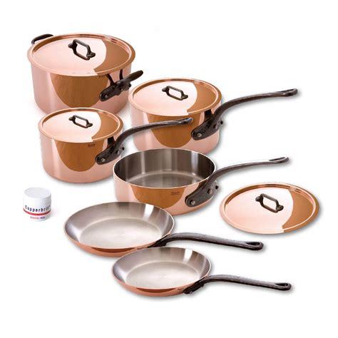 fabcom mc copper stainless pc copper cookware set mauviel cast iron handles