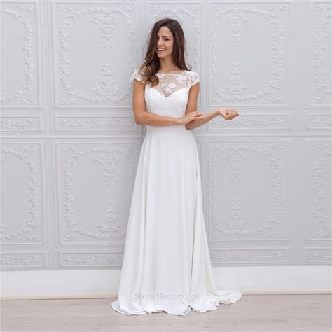 white summer wedding dresses new style 2015 sleeve white chiffon bridal gowns 1356
