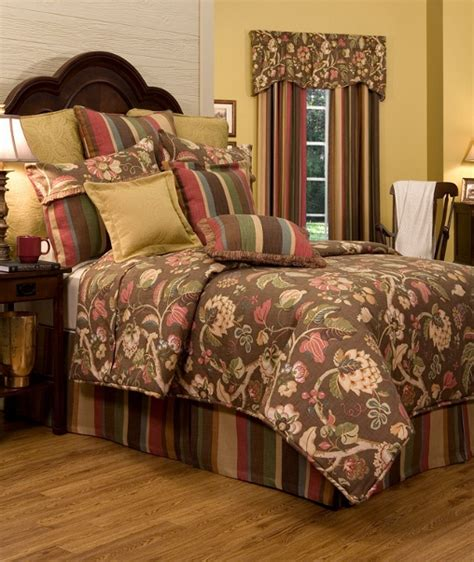 4pc opulent cinnamon basil gold brown jacobean tapestry