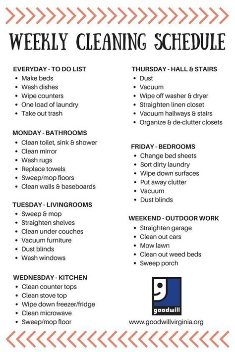 create   year plan   weekly cleaning schedule