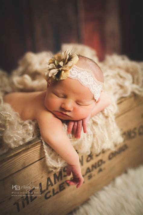 newborn baby photography prop crocheted tan lace headband
