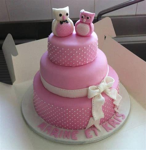 gateau mariage pate  sucre hiboux   wedding cake