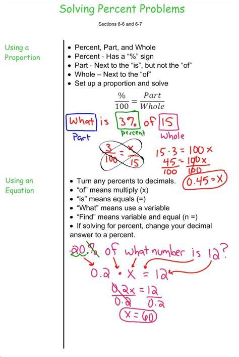 solving percent problems 7th grade pre algebra mr burnett