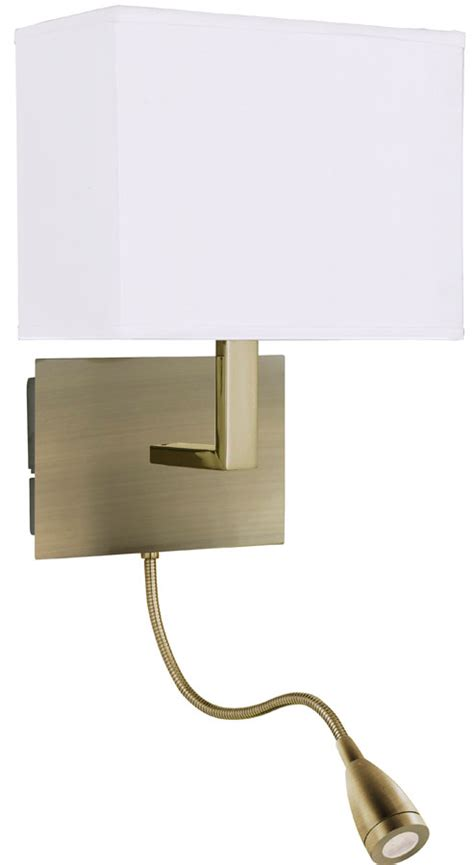antique brass bedside wall light led reading l 6519ab
