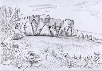 Sketches Nature Castle Chirk Painting Snowdrops