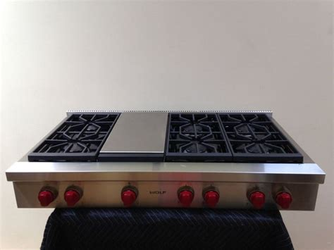 wolf 48 range top wolf srt486g 48 quot gas range top 6 burners with griddle 1561