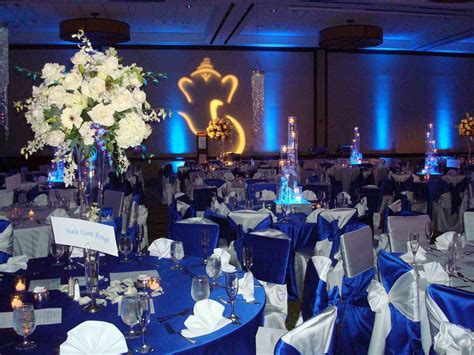 beautiful royal blue and silver wedding decorations gold table setting reception decor