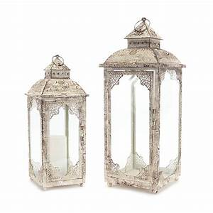 Antique And Cream Lantern, Set Of Two Melrose ...