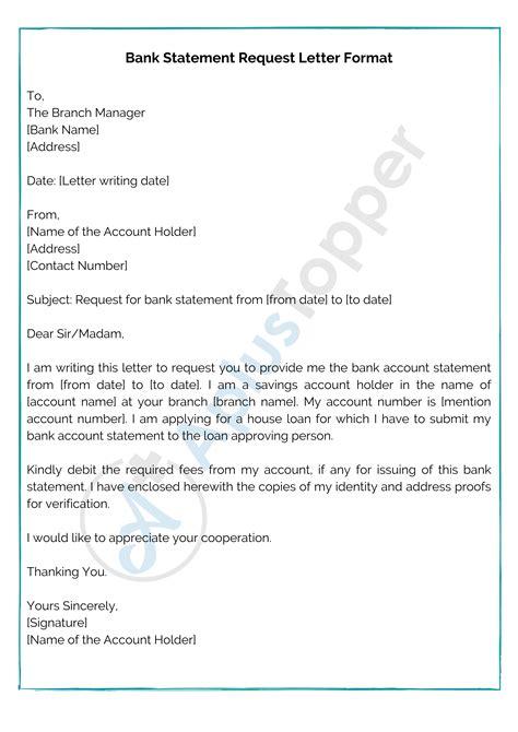 bank statement request letter format samples