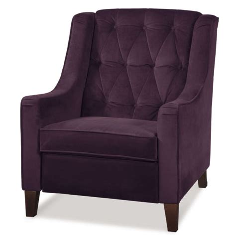 tufted chair in purple and chocolate brown