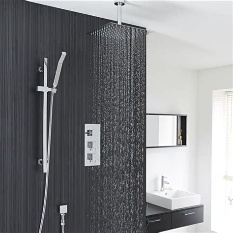 "12"" Chrome Finish Ceiling Mount Square Rain Shower System"