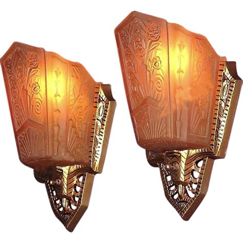 pr 1930s deco wall sconce lighting fixtures original