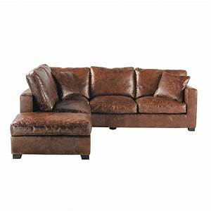 canape d39angle 5 places en cuir marron stanford maisons With canape cuir angle marron