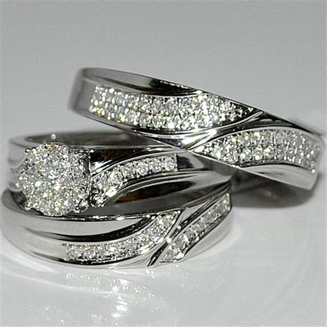 discount wedding ring trio setsaffordable trio ring sets cheap engagement wedding ring sets