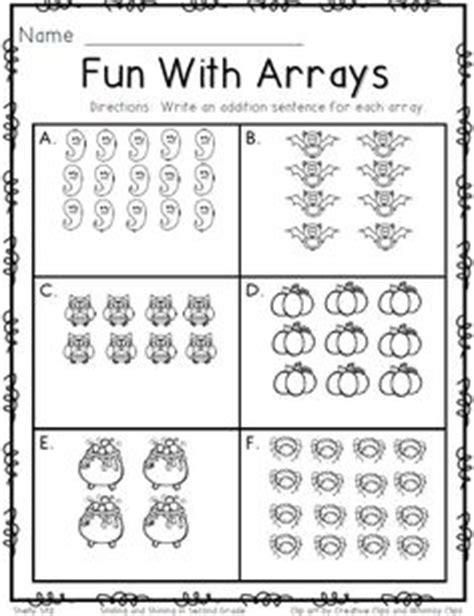 free resource arrays worksheet students look at an array