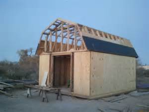 first shed 16x20 gambrel roofing question carpentry