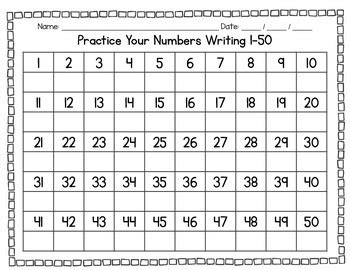 math practice writing numbers 1 100 with differentiated