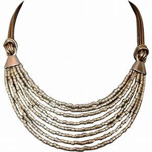 Silver tone glass beads leather necklace ancient Egypt ...