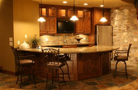 Warm Interior Nuanced Of Home Basement Bar Ideas Completed