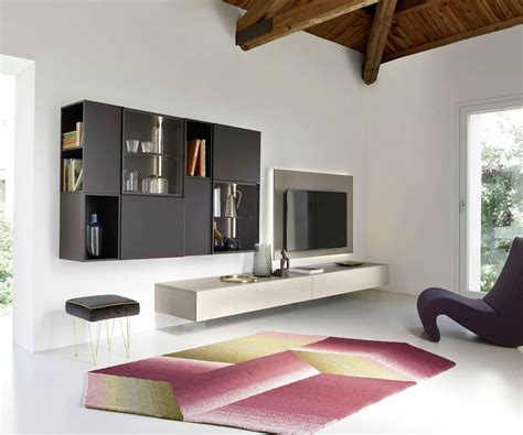 livitalia design schwebend wohnwand  mit betonoptik
