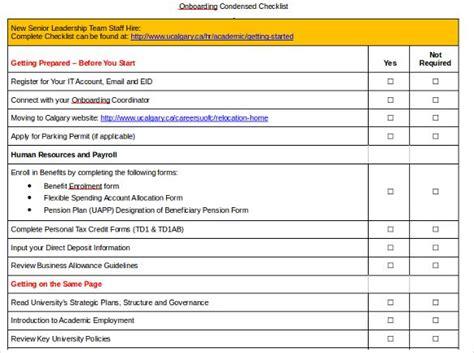 onboarding checklist templates   word excel